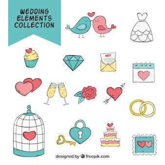Coleção bonito com elementos desenhados mão do casamento