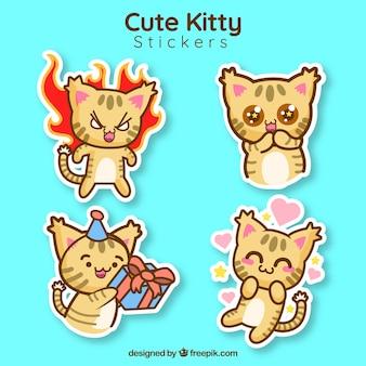 Coleção bonito da etiqueta do gatinho