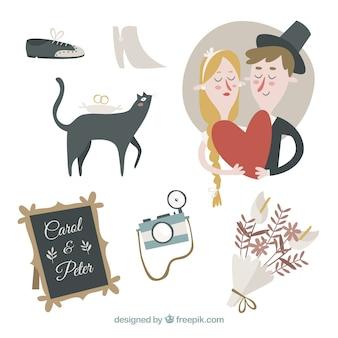 Coleção bonito dos elementos do casamento