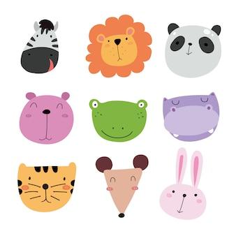 Coleção bonito dos ícones animais