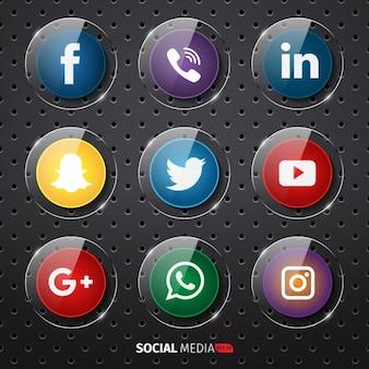 Coleção botões de mídia social