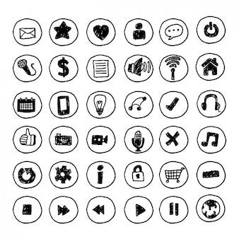 coleção botões multimídia