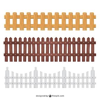 Coleção cercas de madeira