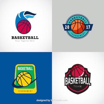 Coleção clássica do logotipo do basquetebol