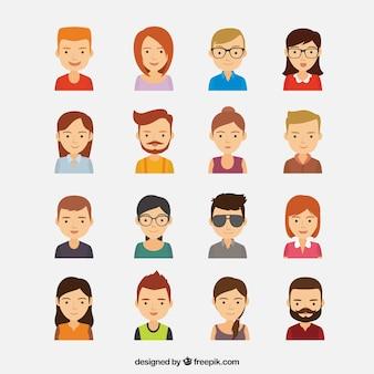 Coleção colorida com grande variedade de avatares