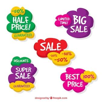 Coleção colorida da etiqueta das vendas