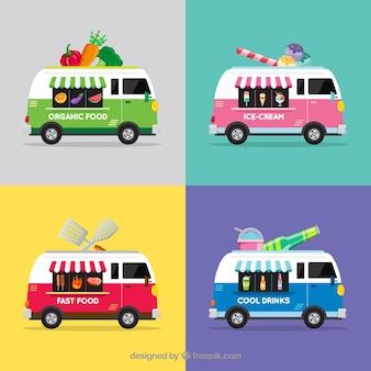 Coleção colorida de caminhões de alimentos vintage