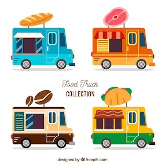 Coleção colorida de caminhões de alimentos