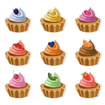 Coleção colorida de cupcakes