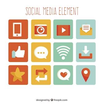Coleção colorida de elementos de mídia social