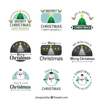 Coleção colorida de logotipos de natal