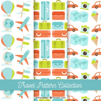 Coleção colorida de padrões de viagem