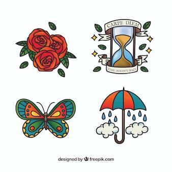 Coleção colorida de tatuagem da velha escola desenhada a mão
