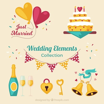 Coleção colorida do elemento do casamento