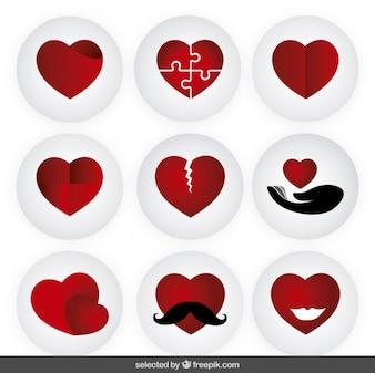 Coleção corações vermelhos