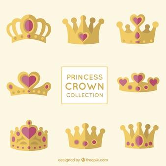 Coleção coroa princesa com jóias coração vermelho