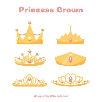 Coleção coroa princesa com jóias rosa