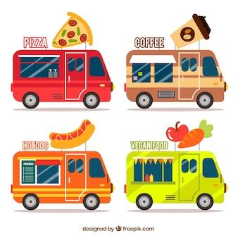 Coleção criativa de caminhões de alimentos