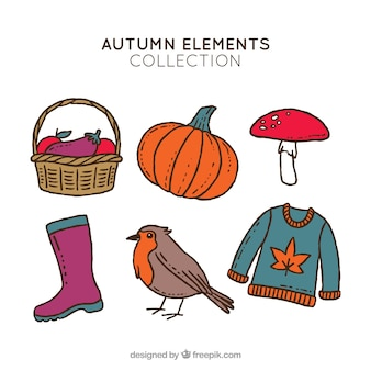 Coleção criativa de elementos de outono