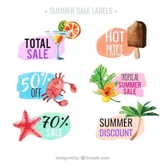 Coleção da aguarela de etiquetas da venda do verão