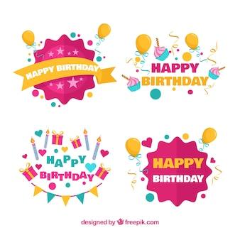 Coleção da etiqueta do aniversário com balões