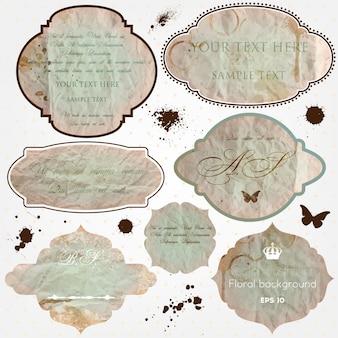 Coleção da etiqueta textura velho pergaminho