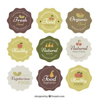 Coleção da fruta e etiqueta vegetariano do alimento do vintage
