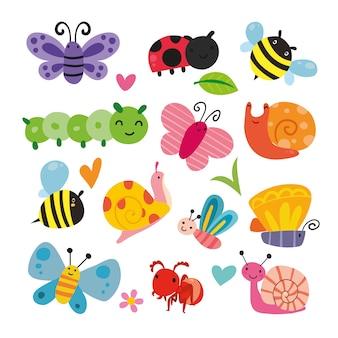 Coleção da ilustração do inseto