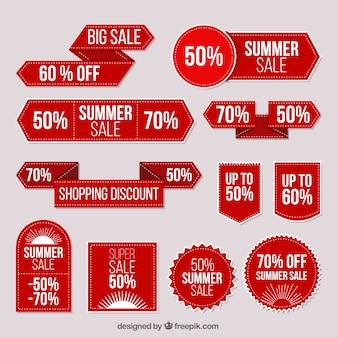 Coleção das etiquetas venda vermelho verão