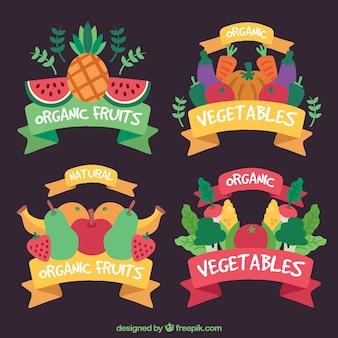 Coleção de adesivos coloridos com alimentos saudáveis