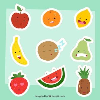Coleção de adesivos de frutas