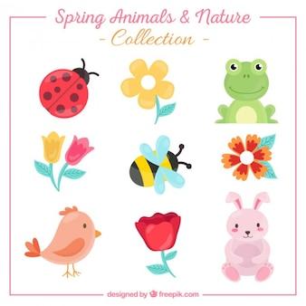Coleção de animais bonitos e flores