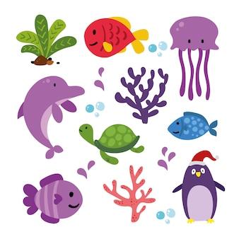 Coleção de animais do mar