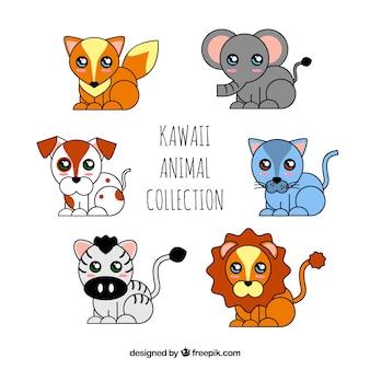 Coleção de animais kawaii desenhada a mão