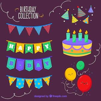 Coleção de aniversário com decoração