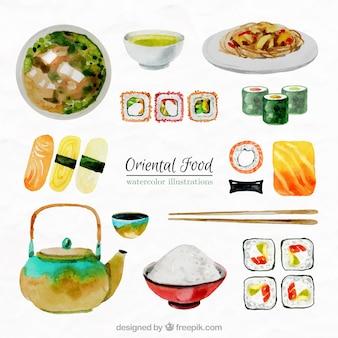 Coleção de aquarela comida oriental
