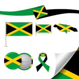 Coleção de artigos de papelaria com a bandeira do design jamaica