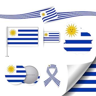Coleção de artigos de papelaria com a bandeira do design uruguai
