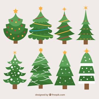 Coleção de árvores de natal em design plano