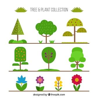 Coleção de árvores e plantas em forma plana