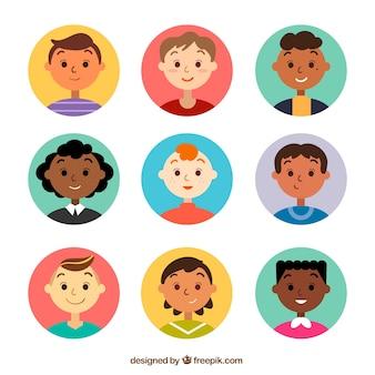 Coleção de avatar de pessoas felizes