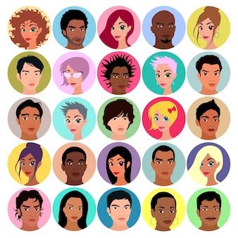 Coleção de avatares feminino e masculino Ilustração vetorial cores lisas