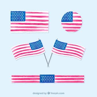 Coleção de bandeiras americanas da aguarela com variedade de projetos