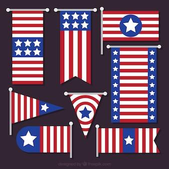 Coleção de bandeiras americanas