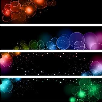 Coleção de bandeiras com diferentes desenhos de efeitos de luz bokeh