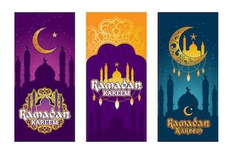 Coleção de bandejas coloridas para o Ramadan Kareem com elementos do Ramadã