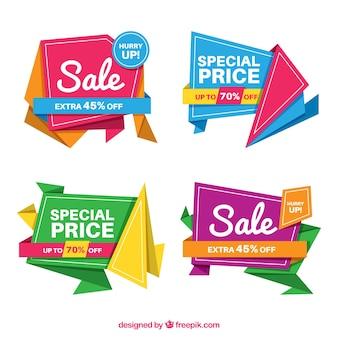 Coleção de banner colorido de venda