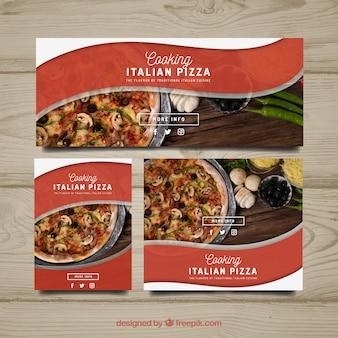 Coleção de banner de pizza