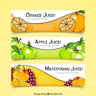 Coleção de banner de suco de frutas