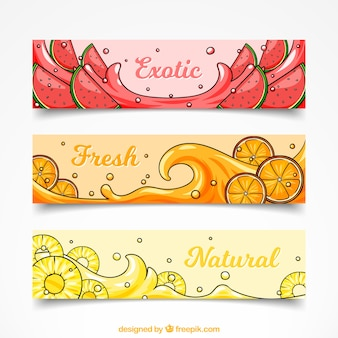Coleção de banners de frutas exóticas